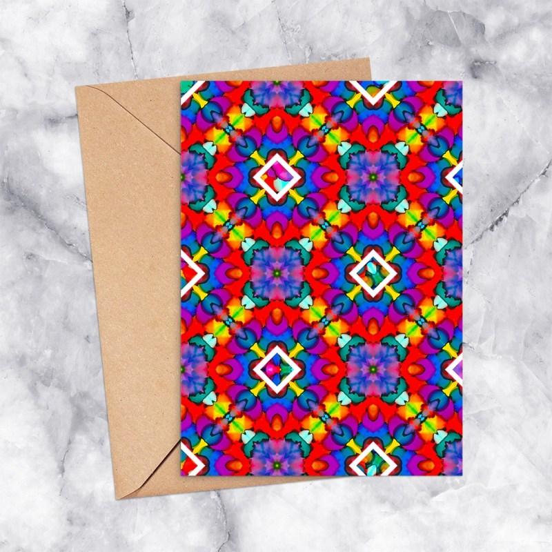 Kaleidoscope 2010 Rainbow Diamonds Printable Greeting Card