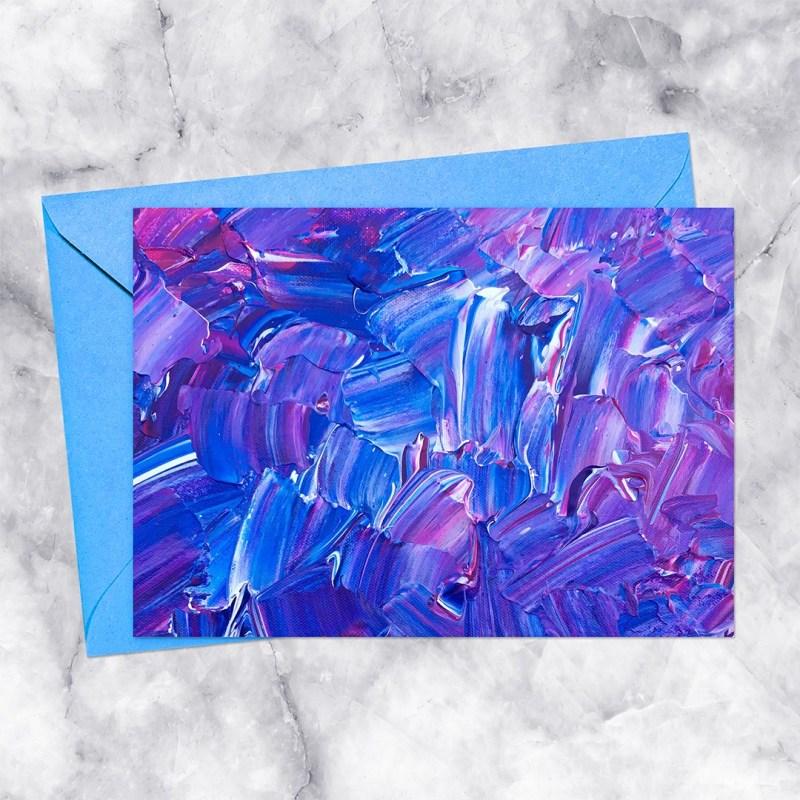 Impasto Blue Purple and White Painting Printable Card
