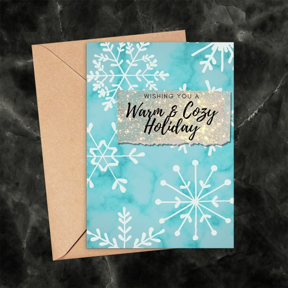 Warm and Cozy Holiday Snowflakes Printable Card