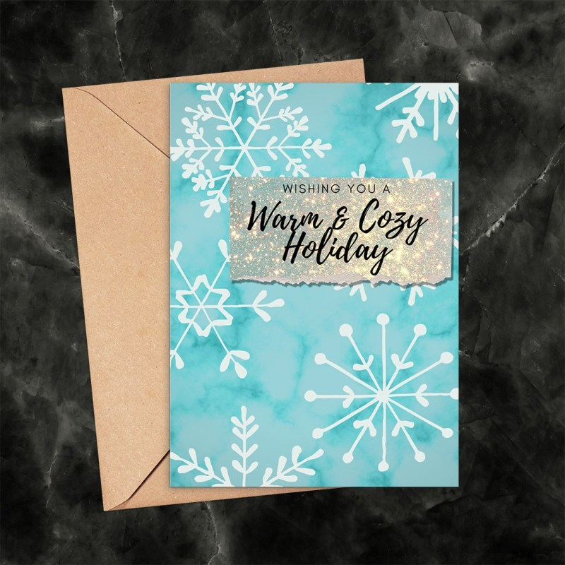 Warm and Cozy Holiday Snowflakes Printable Greeting Card