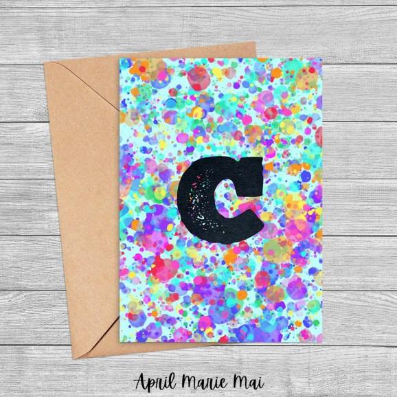 Letter C Monogram Rainbow Paint Splatter Printable Greeting Card