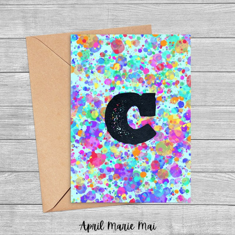 Letter C Monogram Rainbow Paint Splatter Printable Card