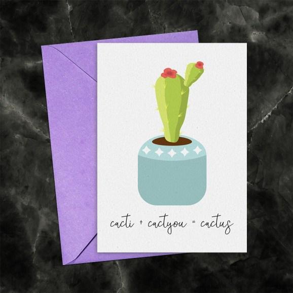 Cacti + Cactyou = Cactus Printable Greeting Card