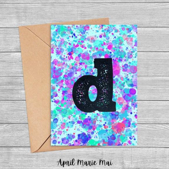 D Monogram Paint Splatter Printable Greeting Card in Blue, Purple & Green