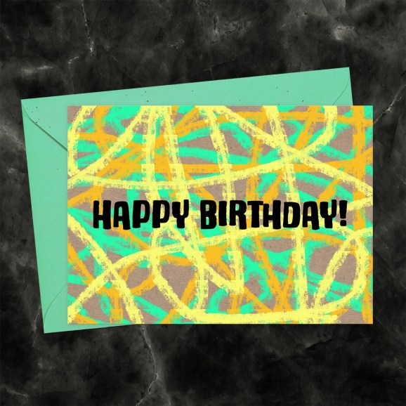 Happy Birthday Pastels Scribble in Yellow, Orange & Green Printable Greeting Card