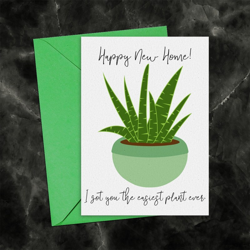 Happy New Home Succulent Printable Greeting Card