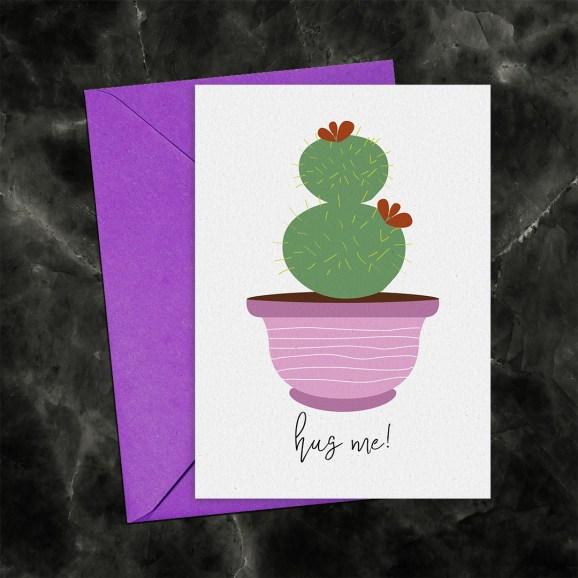 Hug Me Cactus Printable Greeting Card