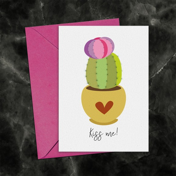 Kiss Me Cactus Printable Greeting Card