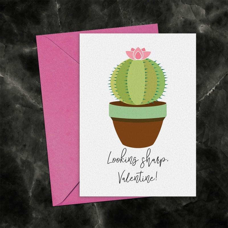 Looking Sharp Valentine Cactus Printable Greeting Card