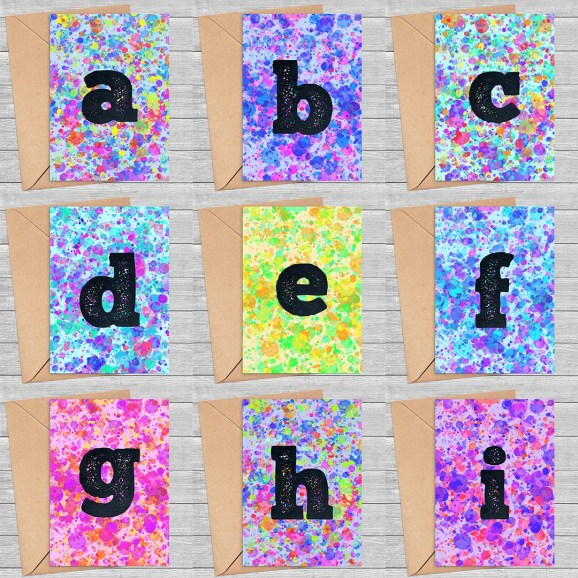Monogram Alphabet Rainbow Paint Splatter Printable Greeting Cards Bundle