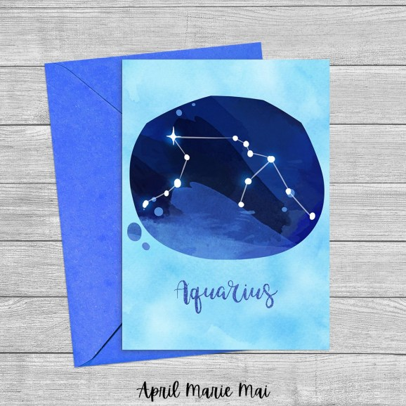 Aquarius Zodiac Sign Watercolor Printable Greeting Card