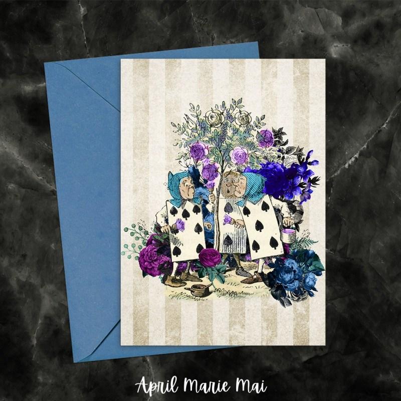 Cards Painting Roses Alice in Wonderland Purple & Blue Printable Greeting Card