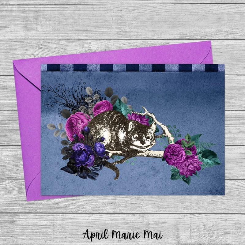 Cheshire Cat Alice in Wonderland Blue & Purple Printable Greeting Card