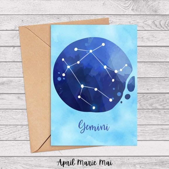 Gemini Zodiac Sign Watercolor Printable Greeting Card