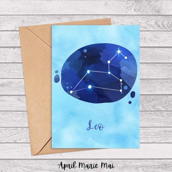 Leo Zodiac Sign Watercolor Printable Greeting Card
