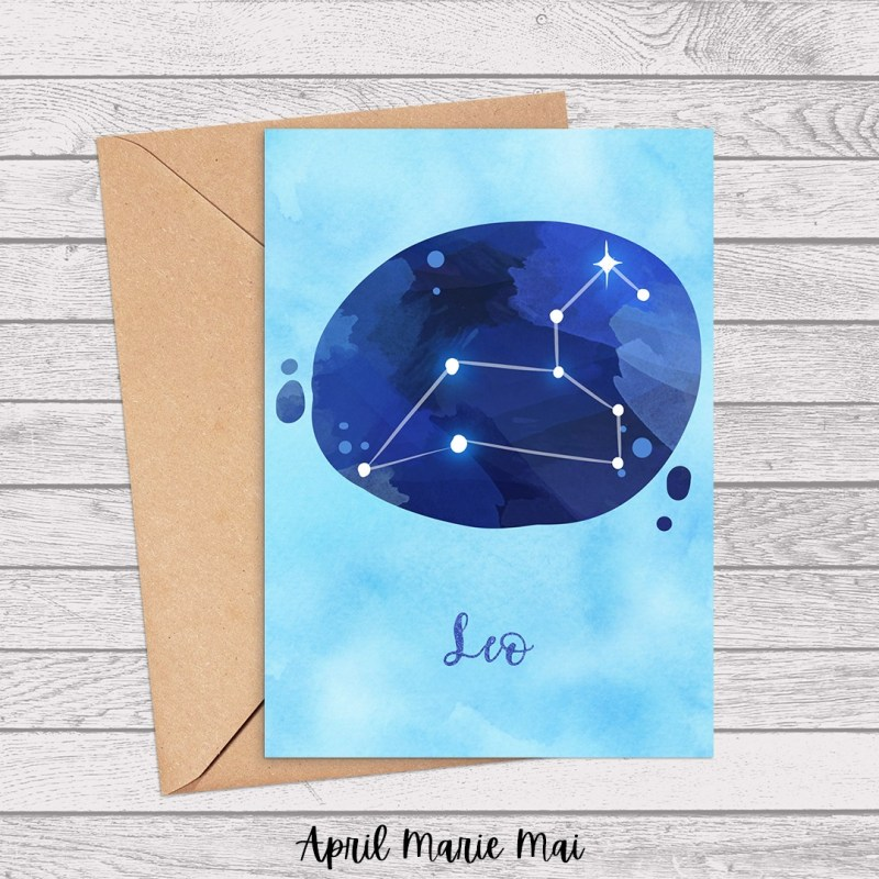 Leo Zodiac Sign Watercolor Printable Greeting Card