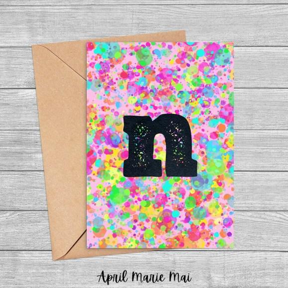 N Monogram Letter Rainbow Paint Splatter Printable Greeting Card