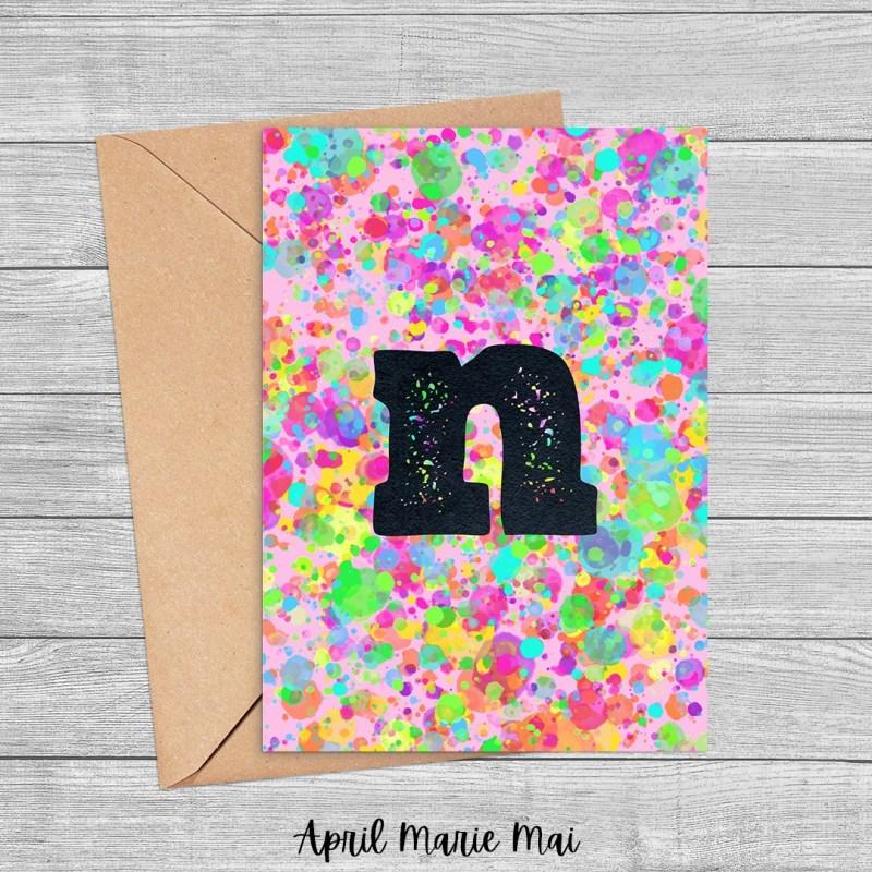 N Monogram Letter Rainbow Paint Splatter Printable Card