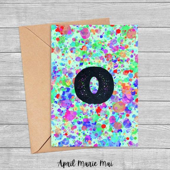 O Monogram Letter Rainbow Paint Splatter Printable Greeting Card