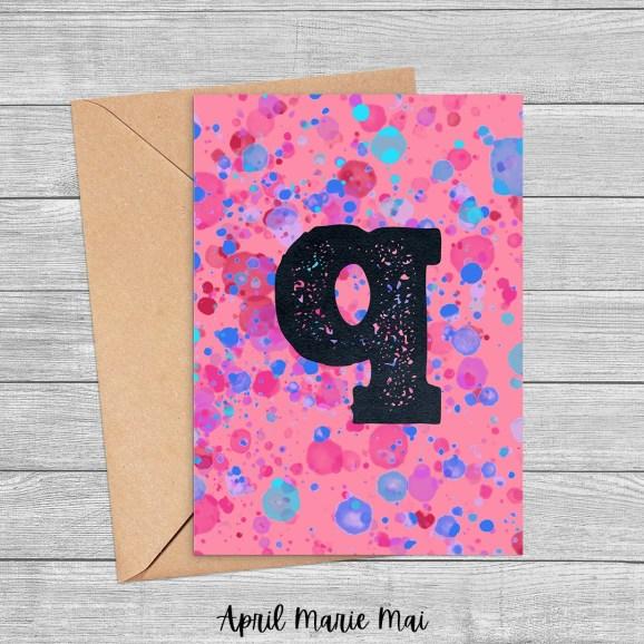 Q Monogram Letter Paint Splatter Printable Greeting Card in Coral, Blue & Fuchsia