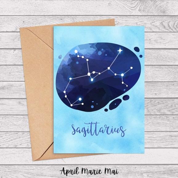 Sagittarius Zodiac Sign Watercolor Printable Greeting Card