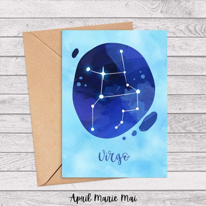 Virgo Zodiac Sign Watercolor Printable Card