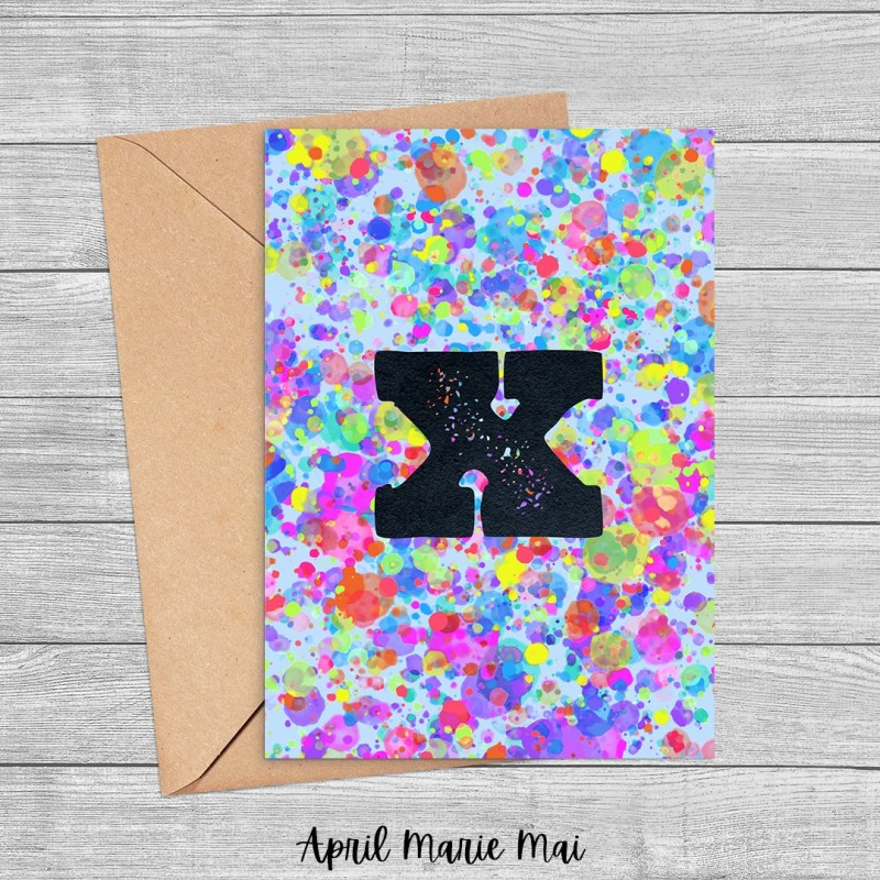 X Monogram Letter Rainbow Paint Splatter Printable Greeting Card