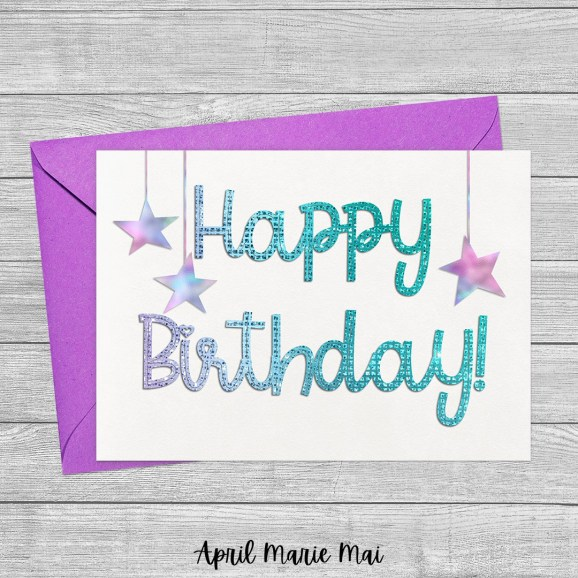 Happy Birthday Monoline Sparkle with Hanging Stars on White Printable Greeting Card