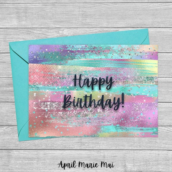 Happy Birthday Pastel Rainbow Glitter Brush Strokes Printable Greeting Card