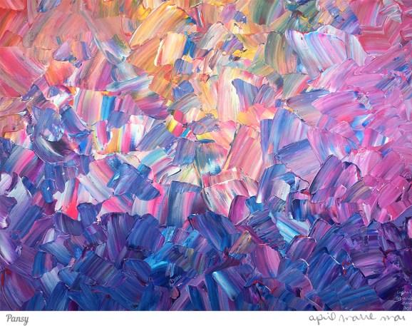 Pansy Impasto Painting Art Print