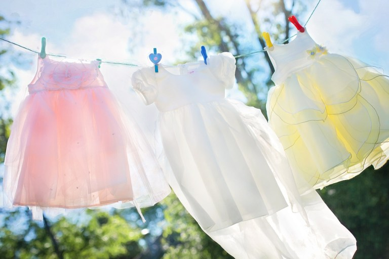 laundry billowing in the breeze