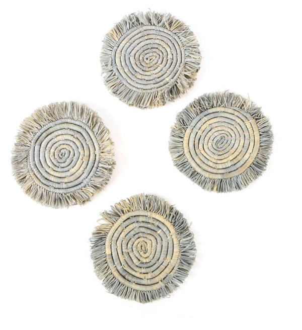 Blue Gray fringe coasters, set of 4, handwoven