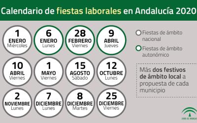 Calendario de fiestas laborales en Andalucia 2020