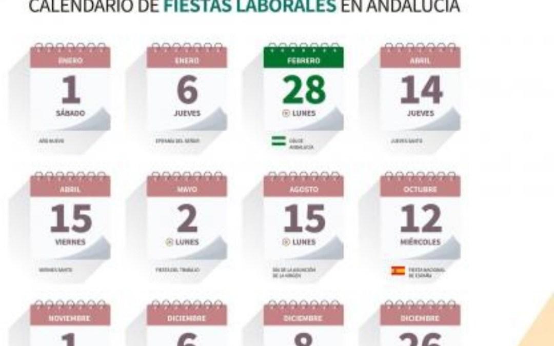 Calendario de fiestas laborales en Andalucía 2022
