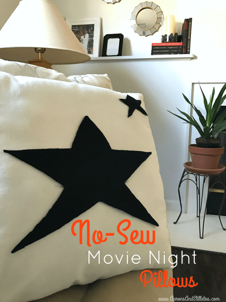 Frugal Movie Night Decor  | DIY Movie Night Pillow