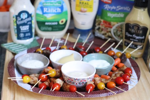 How to Make Mini Game Day Kabobs & Four Easy Dips