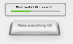 Computertastatur-Knopf mit der aufschrift: make everything OK