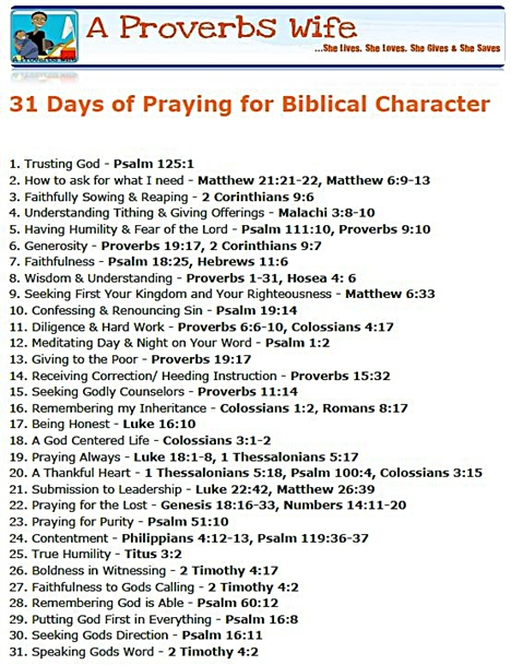 31 Days of Praying for Biblical Character