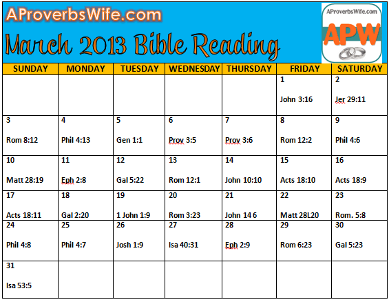 Mrch 2013 Bible Reading Plan