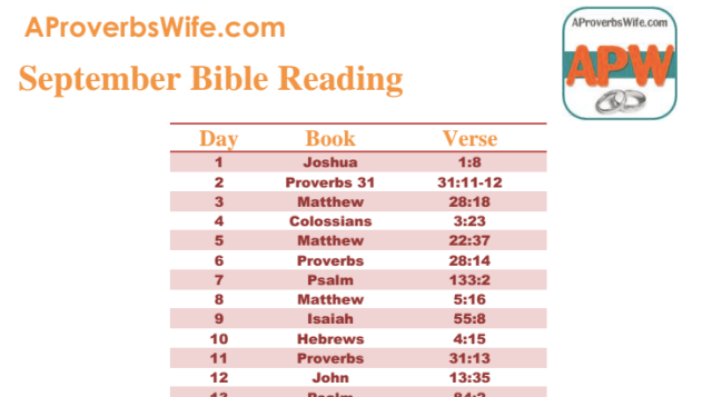 September Bible Reading Plan