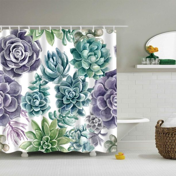 21 purple and green shower curtain