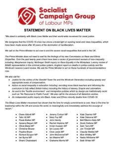 Socialist Campaign Group statement on Black Lives Matter