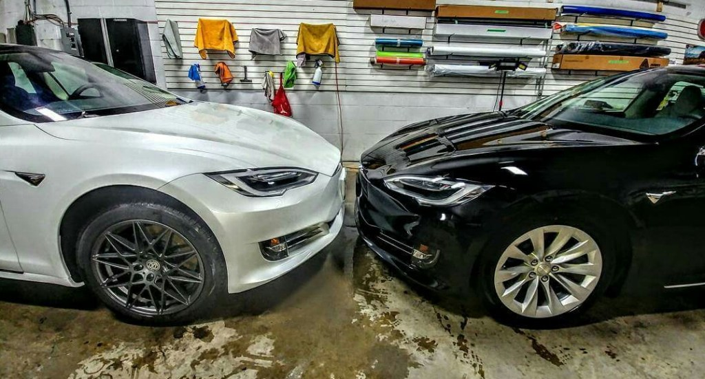 Two Tesla Model S's coated with Ceramic Coating and wrapped in clearbra
