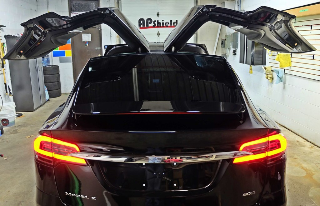 Black Model X wrapped in clearbra in Toronto