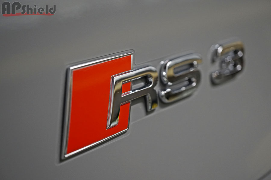 rear trunk badge xpel cutout for audi RS3 by AP Shield
