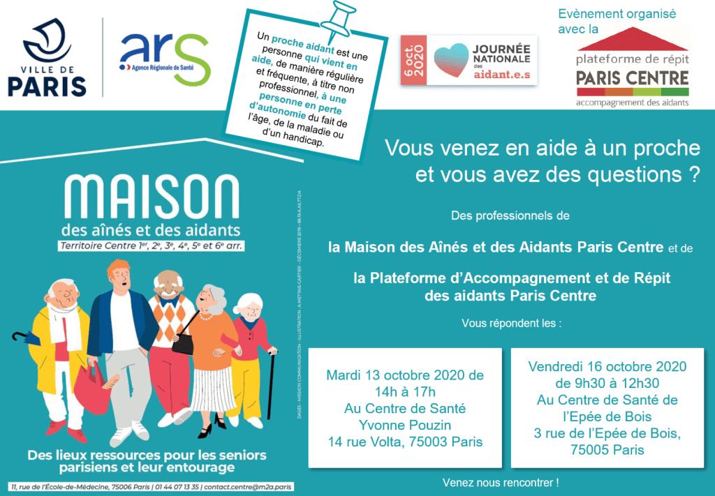 Affiche en couleur de notre événement dans les centres de santé Yvonne Pouzin et de l'Epée de Bois