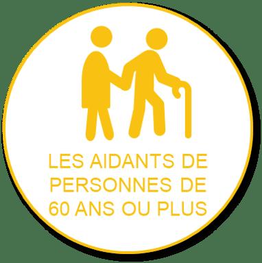 Bulle jaune titre pour les aidants des personnes de 60 ans ou plus