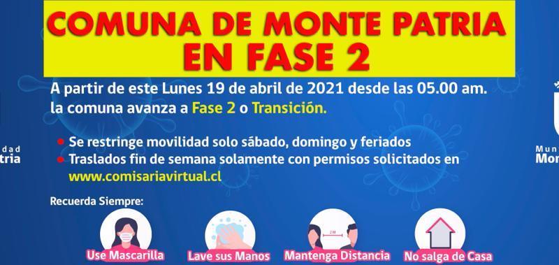 Comuna de Monte Patria Avanza a #Fase2 del Plan #PasoaPaso