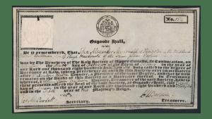 Sir John A. Macdonald's diploma, Barrister at Law, Osgoode Hall Law School.