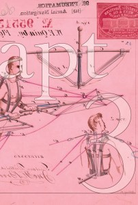 A pink rectangle shows a drawing of a prototype for a flying machine